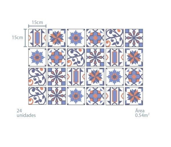 Azulejo Adesivo Azul e Laranja