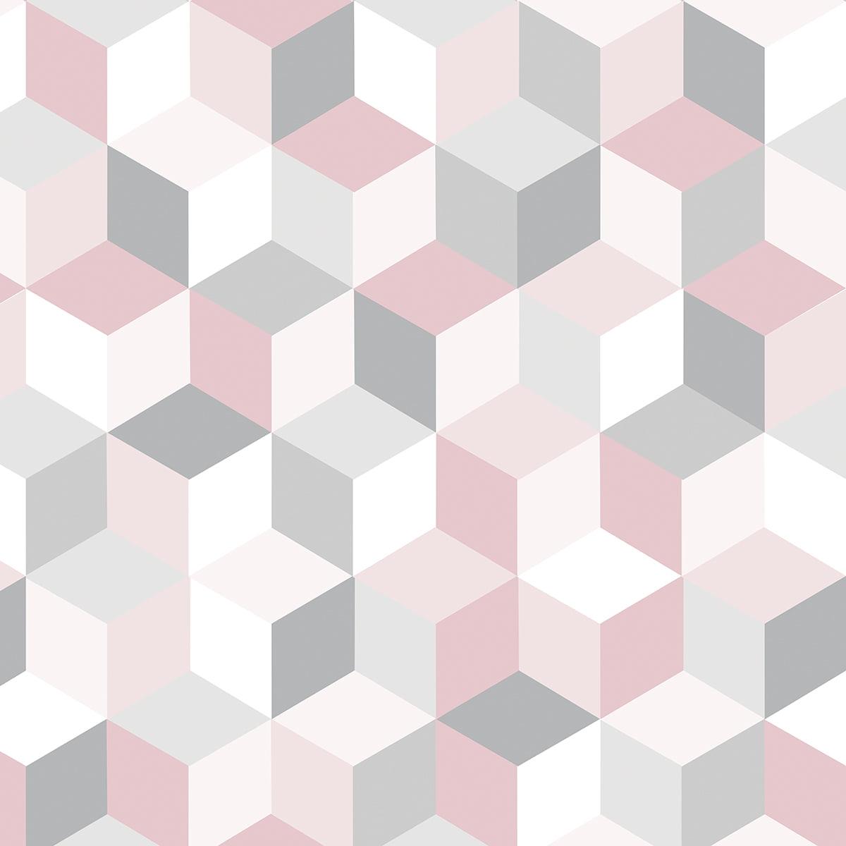 Adesivo de Parede 3D Rosa Cinza e Salmon