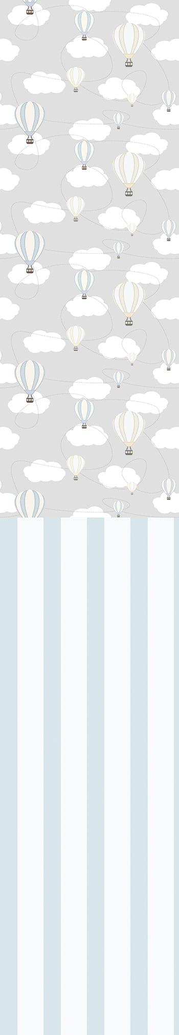 Rolo Adesivo Balão com Nuvens em cinza e listras azuis