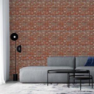 Adesivo tijolo vermelho com fuga cinza cimento Dcorando