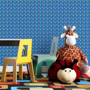 Adesivo de parede Dcorando Poá colorido e fundo azul