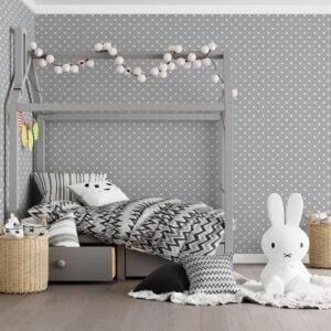 Adesivo de parede Dcorando Poá branco fundo cinza