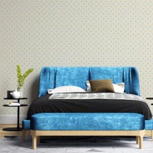 Adesivo de parede Dcorando Poá azul e fundo creme