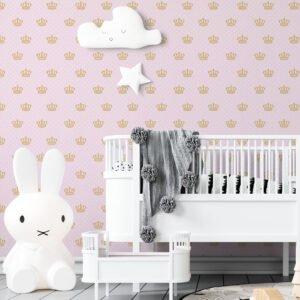 Adesivo de parede Dcorando Poá branco fundo rosa e coroa de princesa