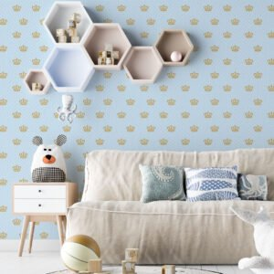 Adesivo de parede Dcorando Poá fundo azul bolinhas rosa e coroa de princesa