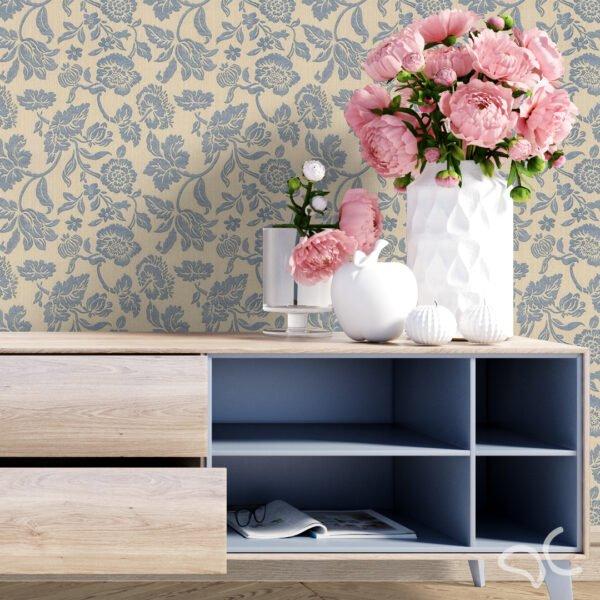 Dcorando Adesivo Floral Linho Bege e Azul