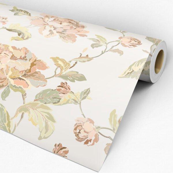 Rolo adesivo de parede floral delicado Dcorando