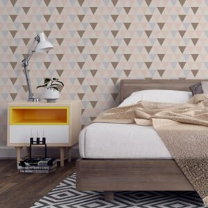 Adesivo de parede Dcorando Geométrico Triângulo Marrom azul rosa