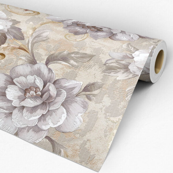 Rolo Adesivo de parede FLORAL Dcorando linho tecido bege