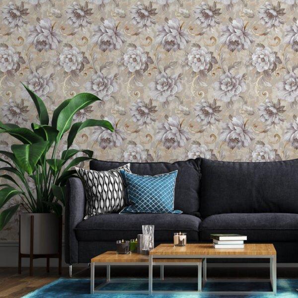 Adesivo floral linho Dcorando aplicado na parede