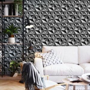 Adesivo de parede Dcorando 3D Pedra Cimento Queimado escuro
