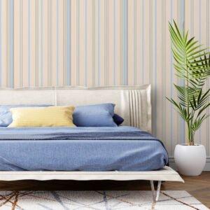 Adesivo de parede Dcorando Listrado azul creme e marrom