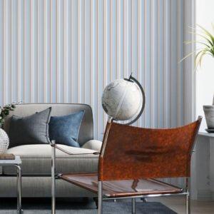 Adesivo de parede Dcorando Listrado azul branco e bege