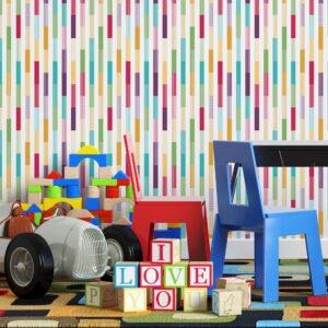 Adesivo de parede Dcorando Listrado ondas coloridas