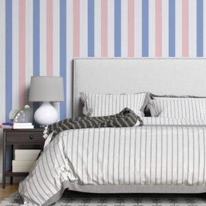 Adesivo de parede Dcorando Listrado azul branco e rosa