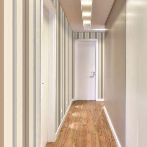 Adesivo de parede Dcorando Listrado marrom creme e azul