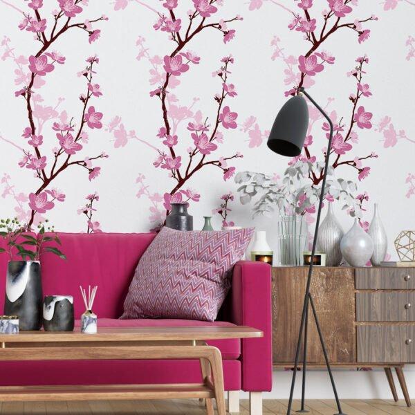 Adesivo de Parede Dcorando Floral Rosa