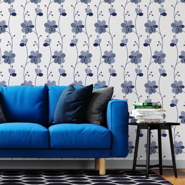 Adesivo de Parede Dcorando Floral Azul