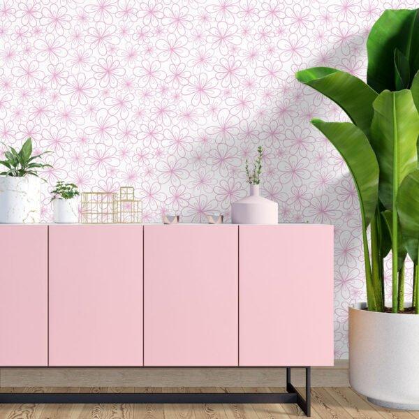 Adesivo de Parede Dcorando Floral traço rosa