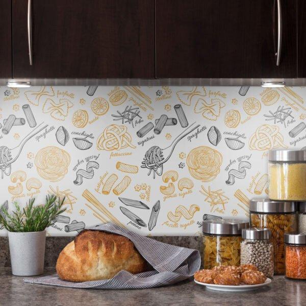 Adesivo de parede Dcorando para cozinha com talheres e macarrão