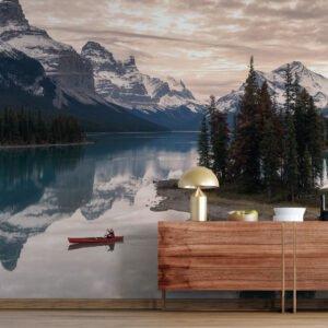 Painel Fotográfico Dcorando Canoa no vale das montanhas