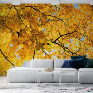 Painel Fotográfico Dcorando Folhas Amarelas
