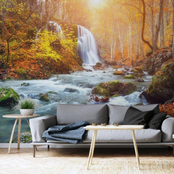 Painel Fotográfico Dcorando Folhagens na Cachoeira