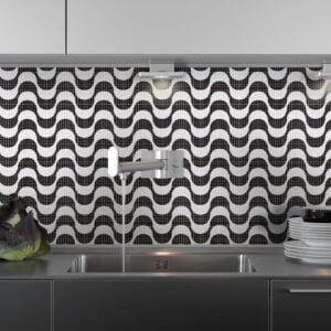 Adesivo de Pastilha padrão Copacabana Dcorando em preto e branco