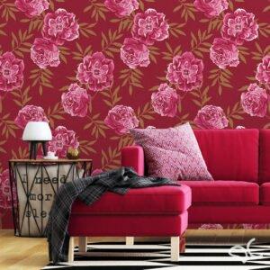 Adesivo floral linho vermelho Dcorando