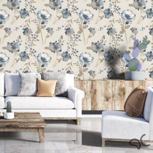 Dcorando Adesivo Floral Azul e Marrom