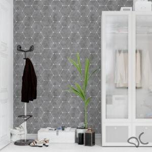 Adesivo Geométrico Dcorando Cubis Dinamond Cimento Queimado Escuro com Branco