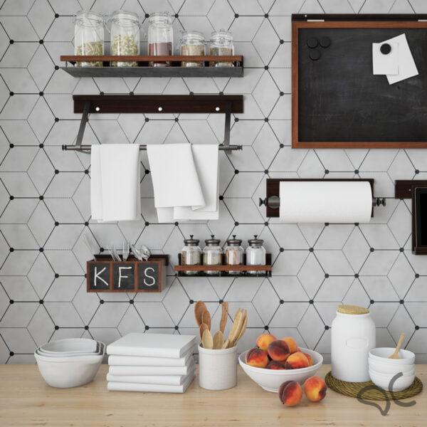 Adesivo Geométrico Dcorando Cubis Dinamond Cimento Queimado com Preto