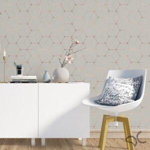 Adesivo Geométrico Dcorando Cubis Dinamond Cinza com Rose Gold
