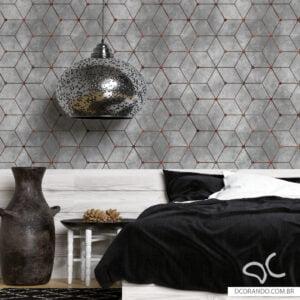 Adesivo de Parede Dcorando Cimento Queimado com Cubos Aço Corten