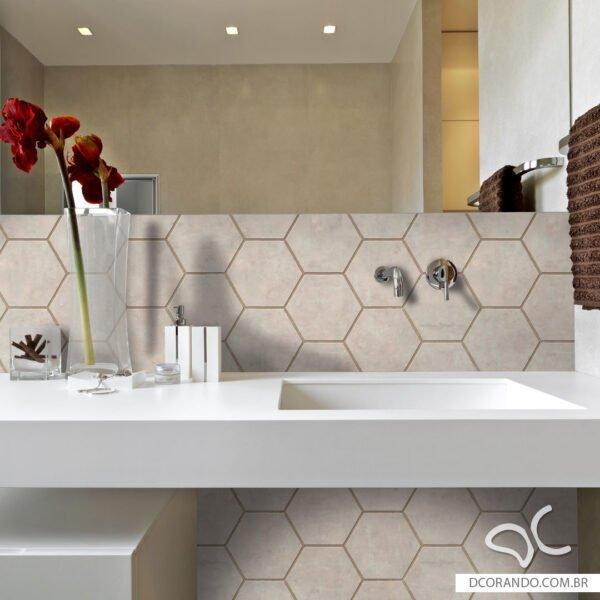 Papel de parede adesivo hexágono cimento queimado marrom rose