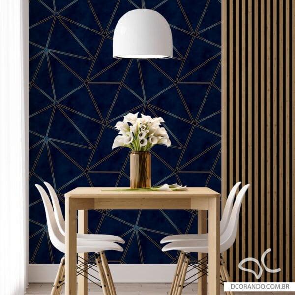 Adesivo de parede Zara azul com dourado Dcorando