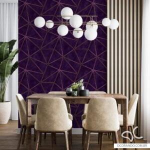 Adesivo papel de parede zara roxo com fio dourado Dcorando