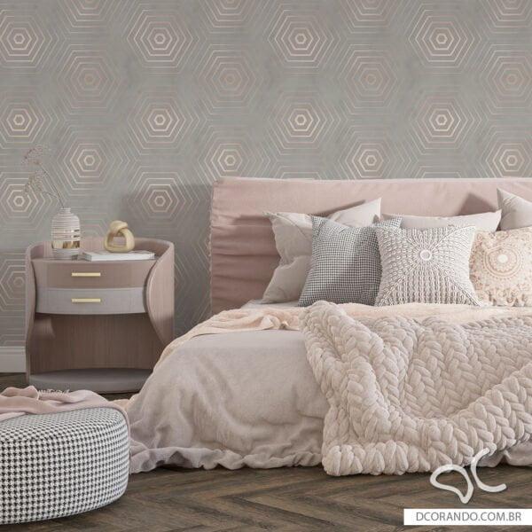Papel de parede adesivo hexagono luxury Dcorando