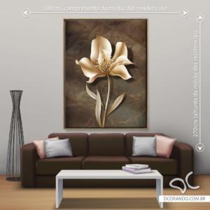 Quadro Flor Dourada Dcorando