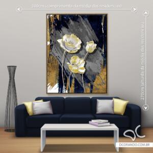 Quadro Flores com Dourado Dcorando
