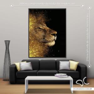 Quadro Leão Brilho Dourado Dcorando