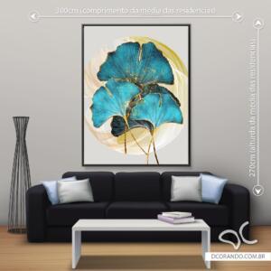 Quadro Decorativo Flor Azul com Dourado Dcorando