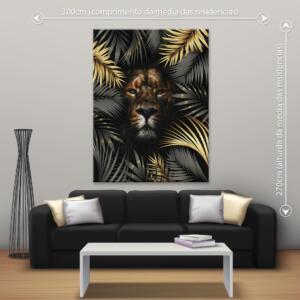 Quadro Leão na Floresta Dcorando