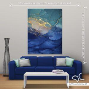 Quadro Abstrato Azul Gold Dcorando