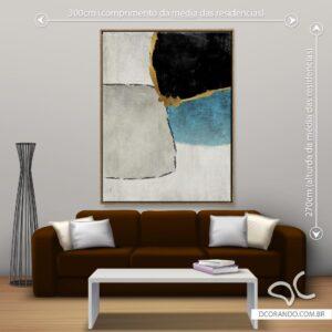Quadro Dcorando Abstrato Cinza e Azul