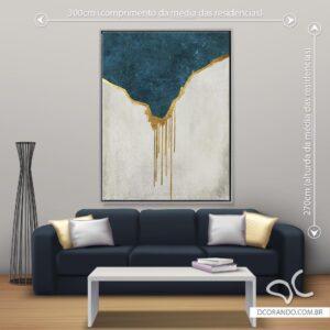 Quadro Abstrato Cinza Azul e Dourado - Dcorando