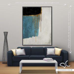 Quadro Abstrato Azul e Cinza Dcorando