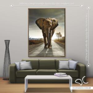 Quadro Elefante na estrada Dcorando
