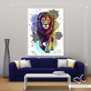 Quadro pintura leão colorido Dcorando