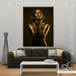 Dcorando Quadro Beleza Divina Negra Dourada